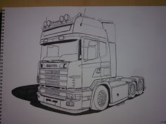 3d Pencil Drawings, Truck Tattoo, Truck Coloring Pages, Car Illustration, Volkswagen Bus, Kirigami, Cool Trucks, Wood Pallets, Jdm