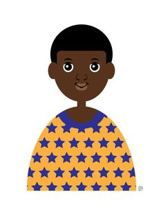 Boy 1, Art Print, (Brown Skin African American Boy in Orange and Blue Star Shirt, Kid's Illustration) 5x7 8x10 11x14
