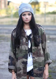 I need a camo jacket!! Really cute with leopard print, and dresses!