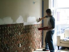 DIY: Using thin bricks (1/2 inch) to create that old apartment feel. LOVE IT!