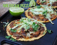 Mexican Pizza (Oaxaca Tlayuda), easy, healthy build-your-own crispy baked tortillas. WW4.