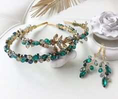Yesterday I made an order for a set for my mother and daughter in a chic - emerald-gold color Jeweled Headband, Pearl Headband, Diy Headband, Headbands, Hair Jewelry, Beaded Jewelry, Handmade Jewelry, Hair Accessories For Women, Jewelry Accessories