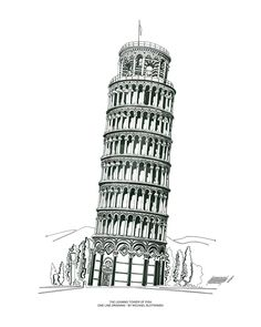The Leaning Tower of Pisa - One Line Drawing by SlotsArtStudio on DeviantArt Architecture Concept Drawings, Famous Architecture, Carte New York, Art Sketches, Art Drawings, Pisa Tower, Building Drawing, Line Artwork, Famous Buildings