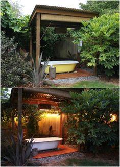 Garden Bathtub, Outdoor Bathtub, Hot Tub Garden, Outdoor Bathrooms, Garden Kids, Family Garden, Backyard Garden Landscape, Small Backyard Gardens, Large Backyard