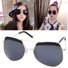 Vellum Gold Color Irregular Frame Decorated Simple Design Alloy Women Sunglasses  www.asujewelry.com