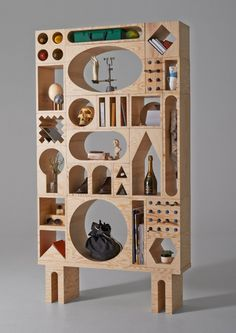 wooden cabinet comprised of various modules.