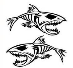Piranha skeleton tattoo - photo#44