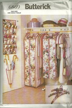 Butterick 6869 Closet Organizers Pattern Home Decor Sewing Pattern By  Mbchills Handbag Organization, Closet Organization