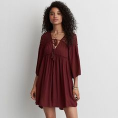 AEO Eyelet Peasant Dress ($60) ❤ liked on Polyvore featuring dresses, red, american eagle outfitters, low v neck dress, bell sleeve dress, red dress and eyelet dresses