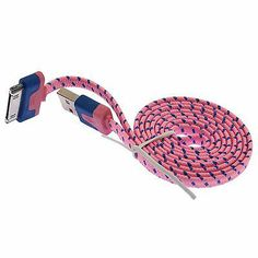 1M Flat USB Data Charger Cable Adapter Woven Fabric Braided Cord for iPhone 4 4S | eBay