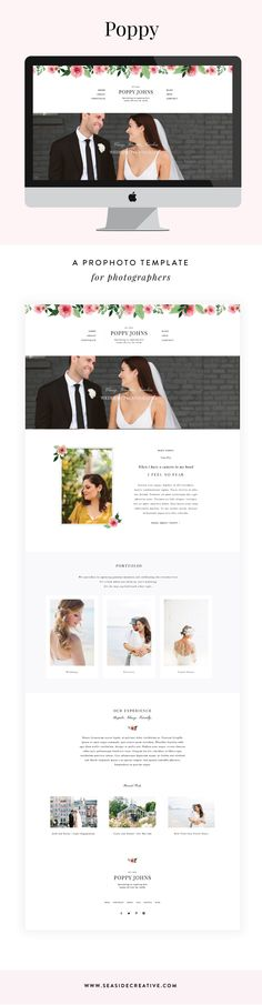Poppy is a beautiful and classy ProPhoto 6 template design for photographers. Floral design elements and sophisticated typography join together to create an aesthetically pleasing and professional design.