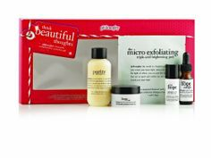 Philosophy Think Beautiful Thoughts Skincare Set by Philosophy. $49.99. Give the gift of a beautiful complexion. Think beautiful thoughts features our best-selling skin care and newest weekly brightening peel to give you beautifully bright, impeccably smooth, healthy-looking skin. It includes purity made simple one-step facial cleanser 3 ounce, the micro delivery triple-acid brightening peel pad 1 count., hope in a jar original formula moisturizer for all skin type...