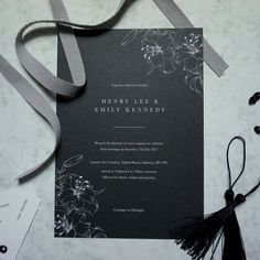 Classic Noir wedding invite by Nat's Paper Studio