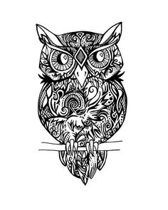The original of this print was done on 11 x 16 paper in permanent marker . Hidden inside the Owls design, there is a smaller flying owl. Can you spot it?