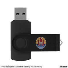 French Polynesian coat of arms Swivel USB 2.0 Flash Drive