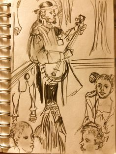 Banjo Player Reenactor, at the Michigan Historical Museum, Lansing, MI. Event sketch by Shirley Hazlett~