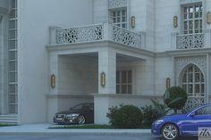 Arabic Villa on Behance Home Map Design, Villa Design, Modern House Design, Modern Houses, Flat Roof House, Facade House, Islamic Architecture, Facade Architecture, House Outside Design