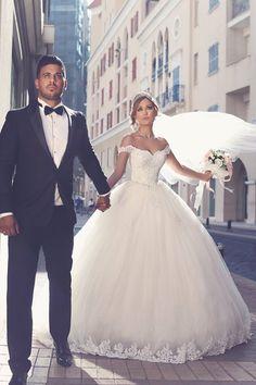 Romantisch Weiß Brautkleider Mit Spitze Schulterfrei Prinzessin Tüll Brautmoden Hochzeitskleider_Brautkleider,Abiballkleider,Abendkleider