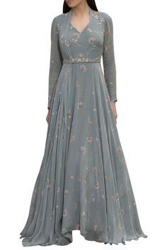 Buy Floral printed anarkali with embroidered belt & attached dupatta by Sana Barreja at Aza Fashions Designer Party Wear Dresses, Kurti Designs Party Wear, Indian Gowns Dresses, Indian Fashion Dresses, Indowestern Gowns, Frocks And Gowns, Simple Gowns, Long Dress Design, Dress Indian Style