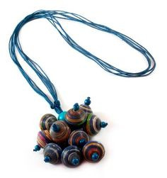 Artisan Crafted Recycled Paper Pendant Necklace - Playful Navy Blue   NOVICA