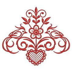 Sweet Heirloom Embroidery Design: Redwork Bird Couple inches H x inches W Hand Embroidery Stitches, Machine Embroidery Designs, Stencil Painting, Applique Patterns, Needlepoint, Needlework, Stencils, Hand Painted, Creative