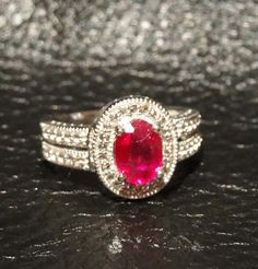 Vintage Ruby and White Topaz Sterling Silver by ElegantArtifacts, $225.00