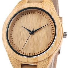 iMing Reloj de madera Natural hechos a mano moda grano de madera cuero genuino banda relojes regalos