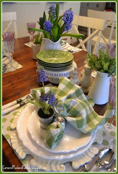 Corner of Plaid and Paisley: Spring Tablescape with Hyacinths