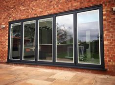 Anthracite Grey Bi Folding Doors with White integral blinds Outdoor Remodel, Paint Colors For Home, Interior Design Living Room, Anthracite Grey Windows, Grey Doors, Bifold Doors, Interior Paint Colors Schemes, Folding Doors, Ideal Home