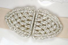 Antique Sash Buckle or Hair Comb, 1920 Pave Rhinestone Wedding Dress Sash / Bridal HairPiece Gatsby Headpiece, Victorian Accessory 1930s 20s by AmoreTreasure