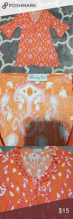 Mudpie Orange Tunic cover-up Dress Slits in the sides, easily put over a swimsuit for coverage or for a warm day Mudpie Dresses Midi