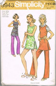 1970s Pattern  Tunic Blouse Top Shirt Pants by NeesysOtherLife