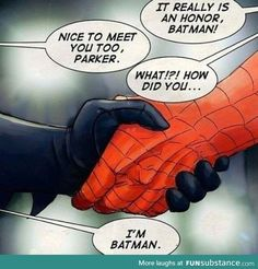 "Spiderman: ""It really is an honor, Batman!"" Batman: ""Nice to meet you too, Parker."" Spiderman: ""What!"" Batman: ""I'm Batman. Lego Dc Comics, Heros Comics, Bd Comics, Dc Animated Series, Marvel Fanart, Nananana Batman, I Am Batman, Batman Spiderman, Funny Batman"