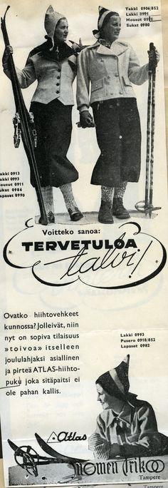#hiiihto #sukset #urheiluvaatteet #winter #talvi #Atlas #SuomenTrikoo #naiset #pukeutuminen #Suomi #Finland #crosscountryskiing #vanhatmainokset