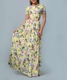 ac33bcc8802 Look at this  zulilyfind! Yellow  amp  Pink Floral Belted Maxi Dress - Plus