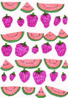 obsessed with any sort of fruit pattern. Fruit Pattern, Pattern Art, Pattern Design, Print Design, Print Print, Fruit Illustration, Pattern Illustration, Food Illustrations, Surface Design