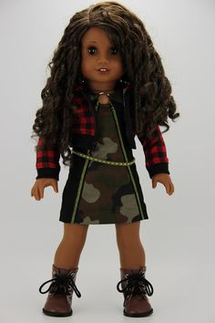 Handmade 18 inch doll clothes - Camo and check 4 piece hoodie outfit All American Girl Dolls, American Girl Doll Pictures, American Girl Clothes, Girl Doll Clothes, Og Dolls, Hoodie Outfit, 18 Inch Doll, S Girls, Dress Making