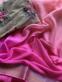 Pure chiffon saree for rs 4200 Plain Chiffon Saree, Chiffon Saree Party Wear, Organza Saree, Soft Silk Sarees, Cotton Saree, Trendy Sarees, Stylish Sarees, Fancy Sarees, Half Saree Lehenga