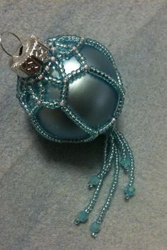 Hand-beaded Christmas bauble