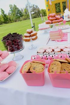 Pink treats at a Barbie birthday party! See more party planning ideas at CatchMyParty.com!