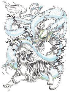Tigre et Dragon - Tiger Dragon, Dragon Art, Tiger Tattoo Sleeve, Sleeve Tattoos, Tattoo Japonais, Tiger Tattoodesign, Dragon Tattoo Meaning, Japanese Tiger Tattoo, Ouroboros Tattoo