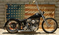 Awesome custom chopper with bobber style frame and big apes
