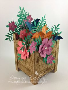 addINKtive designs: Stampin' Up! In Colours Planter Box Card Libros Pop-up, Pop Up Box Cards, Stamping Up Cards, Card Patterns, Mothers Day Cards, Planter Boxes, Folded Cards, Homemade Cards, Cardmaking