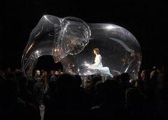 Performance artist Victorine Mueller cases herself in PVC sculptures