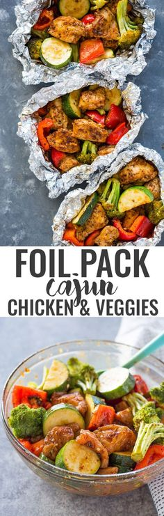 Foil Pack Cajun Chicken and Veggies Cajun chicken and vegetables in foil – reduce the oven temperature to 400 for 20 min. Foil Packet Dinners, Foil Pack Meals, Foil Dinners, Foil Packets, Healthy Eating Tips, Healthy Nutrition, Clean Eating, Healthy Recipes, Kale Recipes