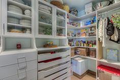 Transitional Pantry with Built-in bookshelf, Hardwood floors, High ceiling