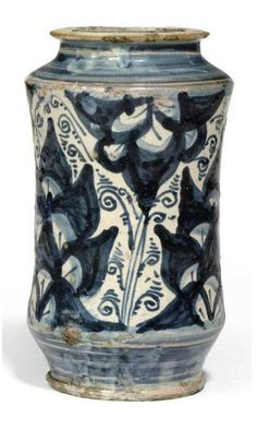 A SOUTHERN ITALIAN MAIOLICA ALBARELLO  16TH CENTURY  PAINTED IN SHADES OF BLUE WITH STYLISED LEAVES AND SCROLLS BETWEEN PLAIN BANDS 8 5/8 IN. (21.9 CM.) HIGH