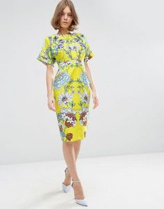 ASOS Wiggle Dress in Mirrored Floral Print