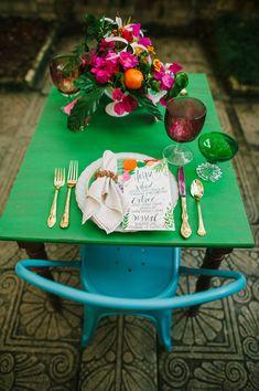 bright spring wedding ideas, photo by Best Photography http://ruffledblog.com/florida-spring-wedding-ideas #reception #placesetting #weddingideas