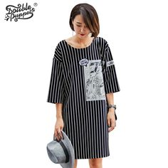 Double puppet 2016 new autumn Literature stripe show shin casual dress o-neck three-quarter loose straight women 563002